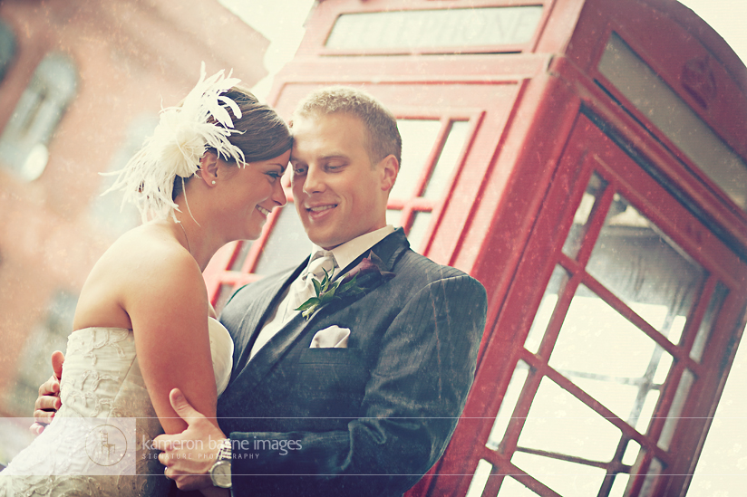 Kameron Bayne Images - Liz and Cory in a Shared Wedding Couple Moment with Old Vintage Phonebooth